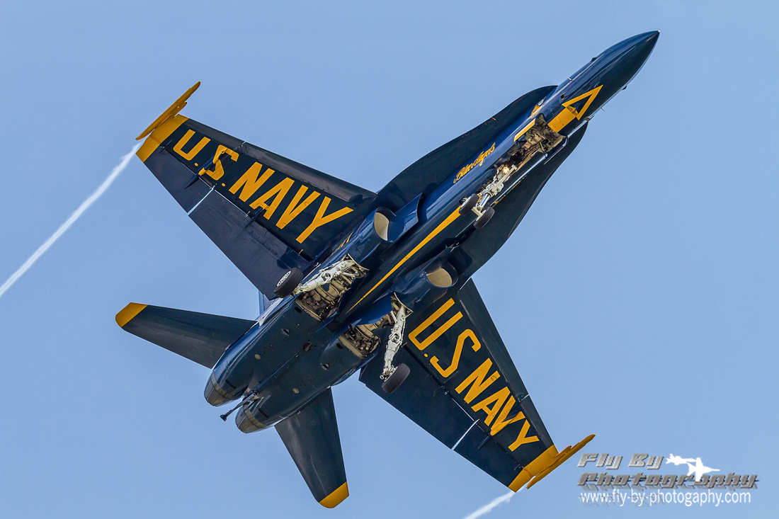 """Belly shot of Blue Angels #6, Lcdr Dave """"Elmo"""" Tickle on final for Apollo Soucek Field's runway 23L."""