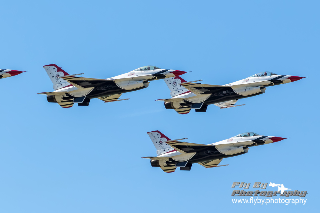 The Thunderbirds lift off in a Finger Tip Formation to start their performance at the 2016 Air Power Over Hampton Roads airshow.