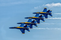 US Navy's Blue Angels flying in right echelon formation over Ft. McHenry