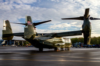 An MV-22B Osprey, assigned to HMX-1 Knighthawks, Executive Flight Detachment, on the Manassas Airport ramp on the morning of the airshow.