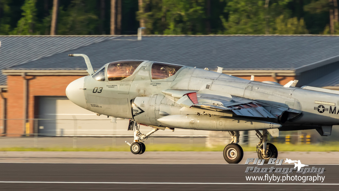 A Banshees' Prowler lifts its nose wheel off the tarmac as it lifts off for the VMAQT-1 Deactivation Ceremony.