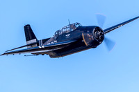 Tom Malone pushing the Capital Wing's TBM Avenger hard, chasing after the Japanese Val, during their routine at the 2017 Culpeper Air Fest.