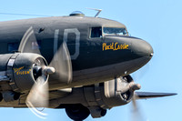 "C-47 ""Placid Lassie"" roars past the crowd at the Culpeper Air Fest during her flying display."