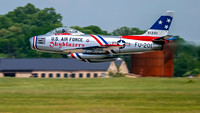 F-86F Sabre in the colors of the USAFE Skyblazers.