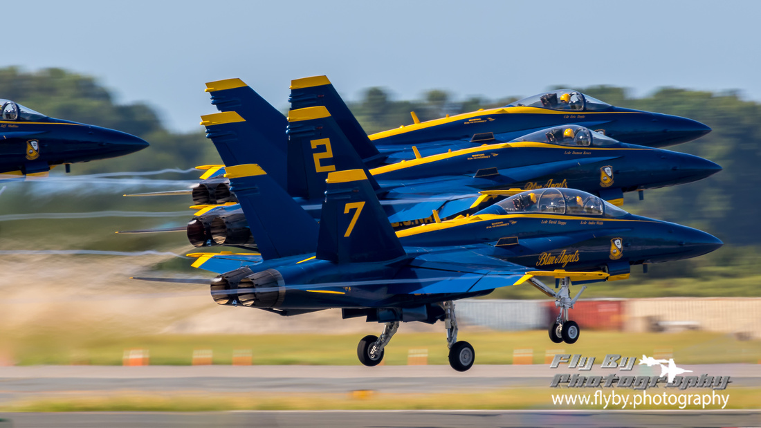 The Blue Angels taking off in fingertip formation, prior to moving to their trademark diamond formation.