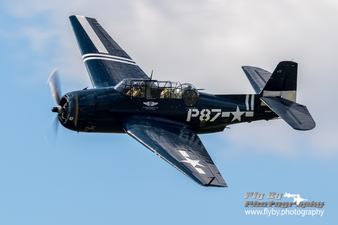 TBM Avenger operated by the Commemorative Air Force Capital Wing makes a photo pass during the 2018 Leesburg Airshow.