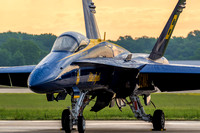 Blue Angels' F-18 Hornet #6 basking in rising sun light