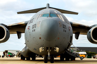Head on view of a West Virginia Air National Guard C-17 Globemaster.