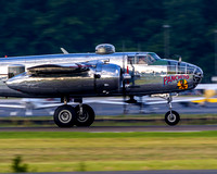 "B-25J Mitchell ""Panchito"" about to lift the nose wheel off the runway, as she launches for July Fourth's Salute to American Fly Over."