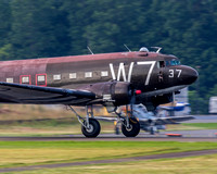 C-47 Skytrain, Whiskey 7 roars down the runway headed for Washington DC to participate in the Fourth of July Salute to America Fly Over.
