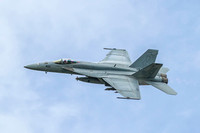 An F-18E Super Hornet of VFA-105 Gunslingers (call sign Canyon) launches for the Fleet Air Power Demo.