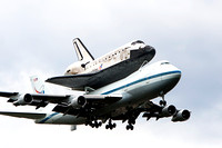 Space Shuttle Discovery on her final flight on a NASA 747 transport aircraft landing at Dulles airport in Virginia