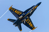 "Belly shot of Blue Angels #6, Lcdr Dave ""Elmo"" Tickle on final for Apollo Soucek Field's runway 23L."