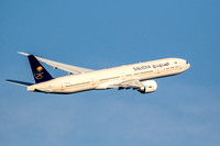 Saudia, Boeing 777 banks to the West after taking off from Dulles Airport's 19L.