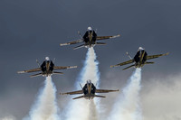 The US Navy Blue Angels shortly after taking off from NAS Oceana to perform a circle and arrival orientation flight.