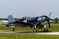The Military Aviation Museum's FG-1D Corsair taxis in at Manassas Regional Airport.