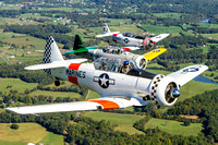 T-6/SNJ Texans, in left echelon on Dan Haug's T-6, over the Virginia countryside.