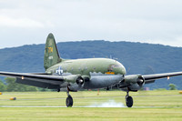 C-47 Tinker Belle arrives at Carl A. Spaatz Field.