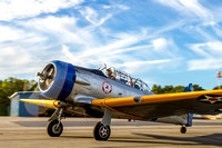 Lou taxis toward the runway in the Military Aviation Museum's SNJ-2 Texan, for a late afternoon flight.