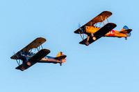 Stearman 03 and 404 just before their break for landing over the Flying Circus airfield.