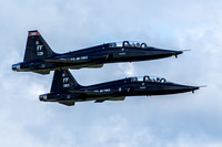 Two T-38 Talons, of the 71st Fighter Training Squadron, take off in section on Saturday at Air Power Over Hampton Roads.