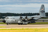 A WC-130 Hurricane Hunter taxis past after arriving at MCAS Cherry Point on Friday evening for the airshow.