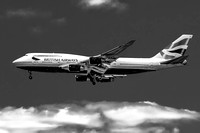 Black and White British Airways 747