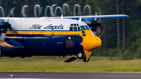 Fat Albert, the Blue Angels' C-130 Hercules, raises the gear prior to climbing during the twilight show at the 2016 Cherry Point Airshow.