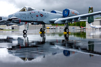 A-10 East Heritage Flight Teams primary aircraft on a wet Manassas ramp on Friday morning prior to Saturday's airshow.
