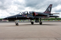 "The Warrior Flight Team's L-39 ""Vandy"" parked in front of the Manassas Airport terminal"