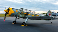 "Charlie VandenBossche's Yak-52 ""Romanian Mistress"" on the hot ramp, early in the morning, ready to fly in the Leaseweb Manassas Airshow."