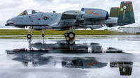 The A-10 East Heritage Flight Team's A-10s and their reflections on the rain soaked ramp at Manassas Airport.