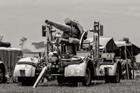 Black and white photograph of a German World War II 88mm flak gun seen at Warbirds Over The Beach 2012 at the Military Aviation Museum.