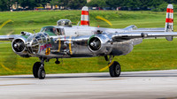 "The B-25 Mitchell ""Panchito"" taxiing back to the hot ramp following a flight during the Mid-Atlantic Air Museum's World War II Weekend."