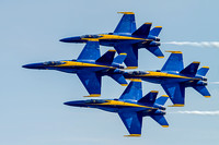 US Navy's Blue Angels flying in the Diamond formation over Ft. McHenry
