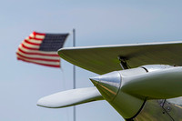 The spinner of the Military Aviation Museum's Hawker Fury Mk1 pictured in front of the United States flag.