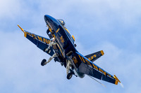 Blue Angels #5, Lcdr C. J. Simonsen, Lead Solo brings his F-18 Hornet over head, on final for NAS Oceana's runway 23L.