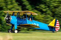 Rick slows his Stearman after landing.