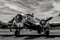 "A black and white photograph of the Military Aviation Museum's B-17G ""Chuckie""."