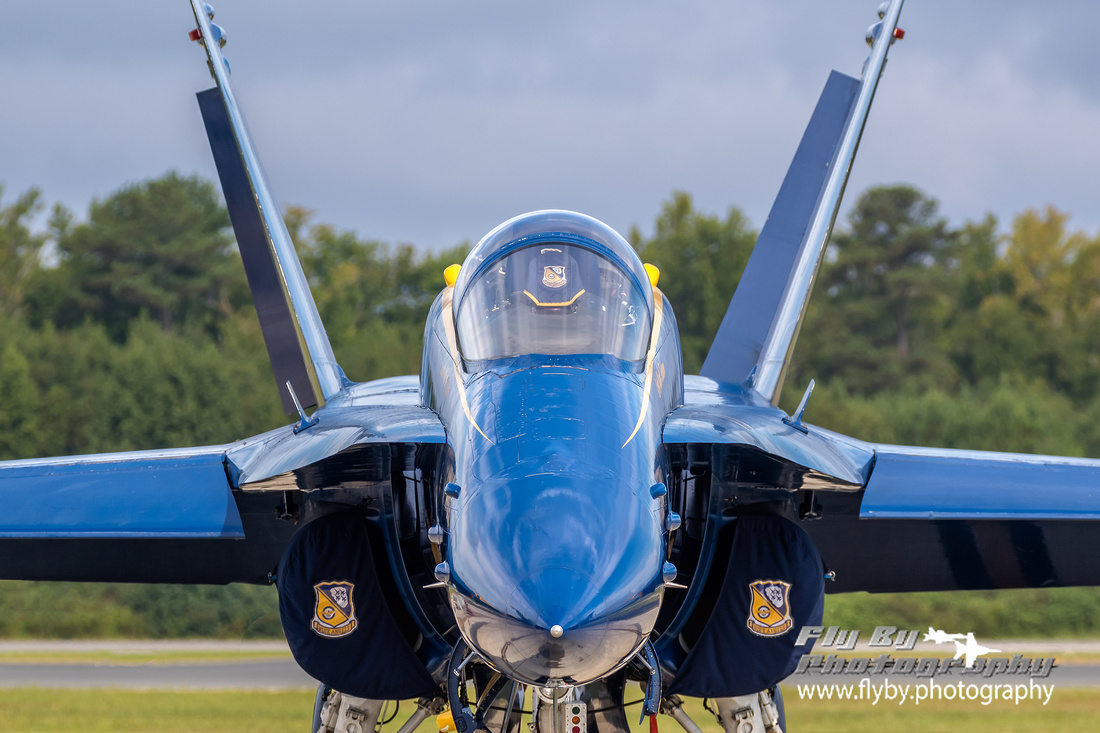Face to face with Lcdr Mark Tedrow's Hornet, Blue Angel #5.