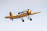 A Ryan PT-22 Recruit, Miss Cherie, takes off from Carl A. Spaatz Field.