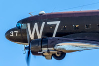 "The National Warplane Museum's C-47 ""Whiskey 7"" makes a pass of Monroe Airport."