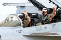 "Lt. Nate ""Fonda"" Miller and Lt. Jason ""IAD...S"" Hoch, Super Hornet aviators for the Navy's 2014 Hornet Tac Demo Team."