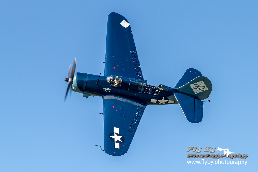 The Commemorative Air Force's SB2C-5 Helldiver, the world's only flying Helldiver, photographed in the break for landing at Manassas Regional Airport on June 1, 2013.