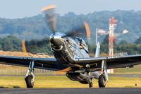 Andrew taxis the Mustang toward the Leesburg Airport ramp after arriving Saturday morning for the afternoon's airshow.