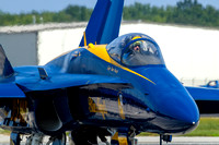 Capt. Tom Frosch, commanding officer of the Blue Angels taxis the team back to the ramp.