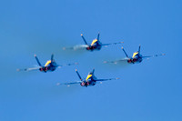 The Blue Angels Diamond climbs in afterburner, just after take-off.